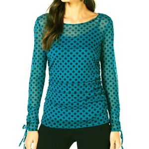 INC 2-Piece Top Cami Ruched Polka Dot Tie Sleeve